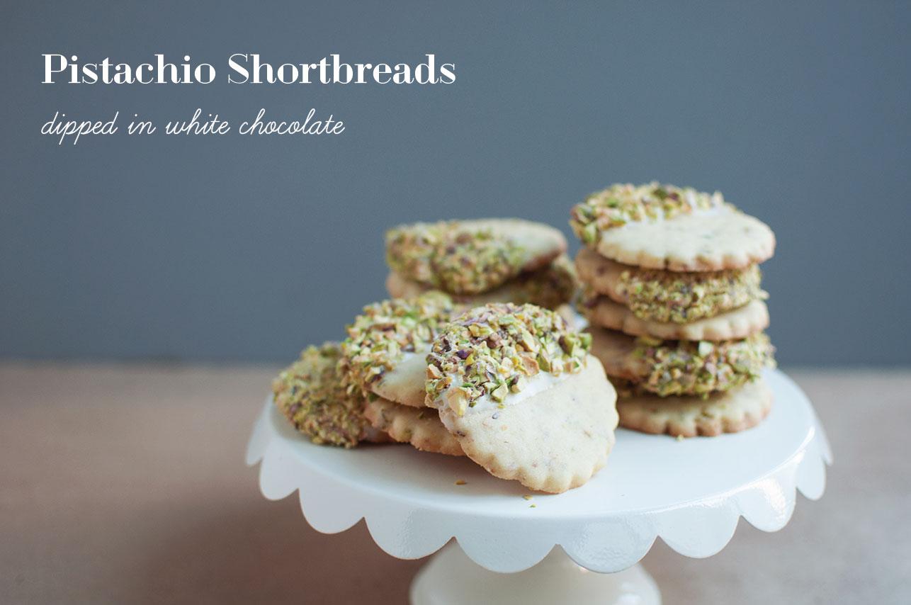 Pretty in Pistachio   Pistachio Shortbreads Dipped in White Chocolate