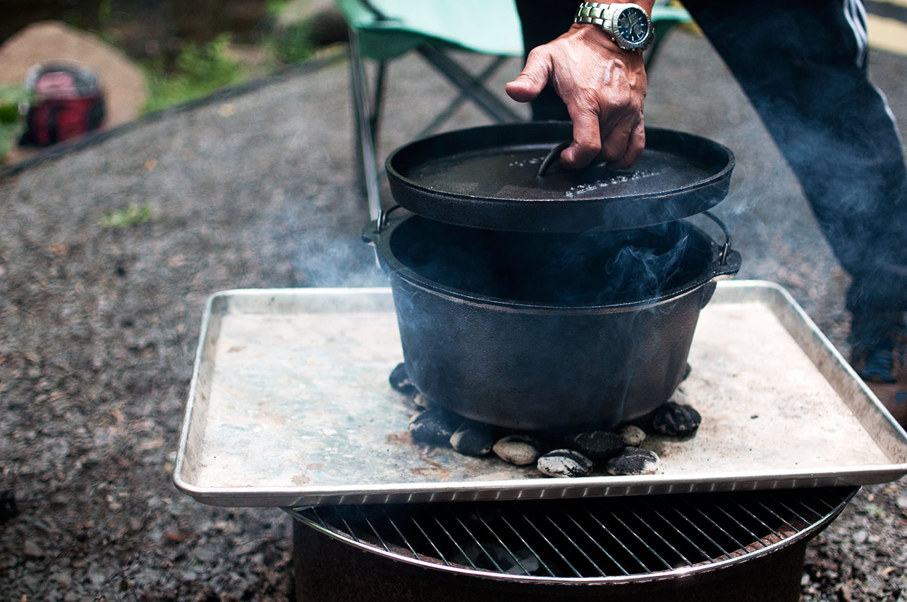 Pretty in pistachio camping cast iron cooking