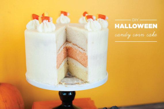 DIY Halloween Candy Corn Cake