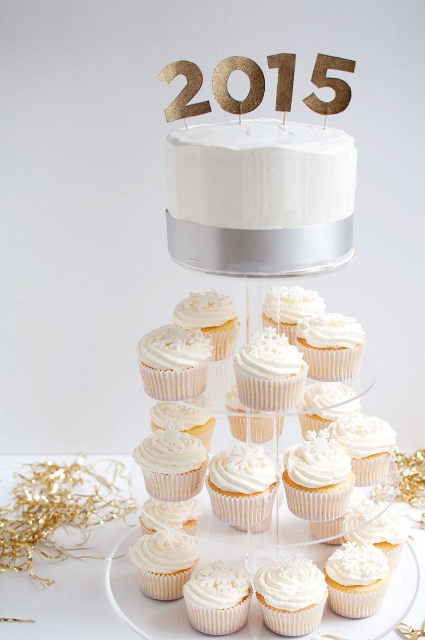 Pretty in Pistachio | New Year's Eve Prosecco Cupcake Tower